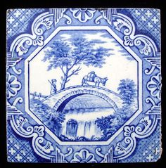 Transfer Printed Aesthetic Movement Tile  Aesop Fable ~ The Man, the Boy, and the Donkey 1870