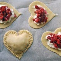 strawberries, sugar, cream cheese, and pie dough - great for Valentine's Day!