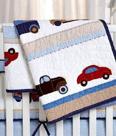 Whistle and Wink Cars and Trucks Nursery 615 Quilt by Whistle and Wink. $199.00. Theme: Cars & Trucks. Primary Color: Blue,Red. Cars and Trucks Quilt. Memorable vintage cars drive across this timeless quilt. Each car is detailed with hand crafted embroidery. 100% cotton percale with various yarn dye checks and plaids. Machine wash/dry.. Save 20%!
