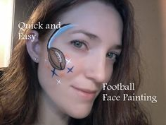 Quick and Easy Football Face Painting Face Painting Designs, Paint Designs, Body Painting, Painting & Drawing, Football Face Paint, Pink Chocolate, Social Trends, Cheer Mom, Salon Style