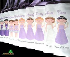 6 Personalized bridesmaids gifts bags wedding or bridal shower party or wedding give away favors totes