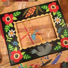 #handpainted #pictureframe #maryengelbreit #Painting Mary Engelbreit, Art Club, Whimsical Art, Paint Designs, Paper Mache, Wall Art Decor, Illustrators, Picture Frames, Artsy