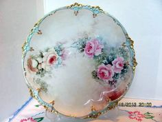 GDA Limoges Hand Painted Cake Plate by VintageLoversShop on Etsy, $75.00