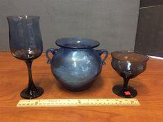 www.M37Auction.com: Milnor Sweden Stemware & Matching Handled Vase