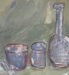 Detail from 'Blue jars on green background', acrylic, woad & contè on canvas, 50 x 56cms, Hiawyn Oram