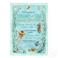Under the Sea Baby Shower Invitation - teal