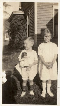 vintage photo 1920 Children on Lawn Boy Has KEwpie Doll in His Arms