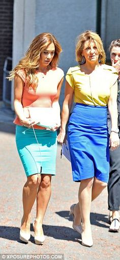 Feeling bright: Myleene Klass and Kaye Adams opted for bold contrasts in colour Celebs, Celebrities, Skirt Outfits, Peplum, British, Coral, Bright, Colour, Female