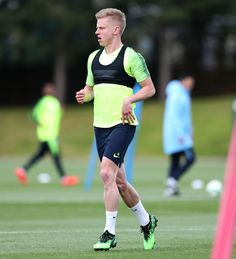 MANCHESTER, ENGLAND - MAY Oleksandr Zinchenko of Manchester City warms up during a training session at Manchester City Football Academy on May 2019 in Manchester, England. (Photo by Victoria Haydn/Man City via Getty Images) Manchester England, Manchester City, Zen, Victoria, Training, Football, Warm, Coaching, Hs Football