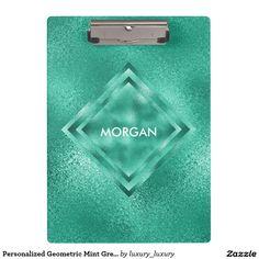 Personalized Geometric Mint Green Shiny Clipboard