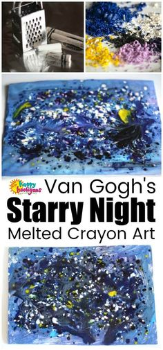 Learn how to make Starry Night art with this fun and fascinating melted crayon art process. It's a great Van Gogh art project for kids of all ages.  #HappyHooligans #StarryNight #VanGogh #MeltedCrayons #ArtForKids #PreschoolArt #ArtProjects #KidsArt #CrayonArt #ArtIdeasForKids