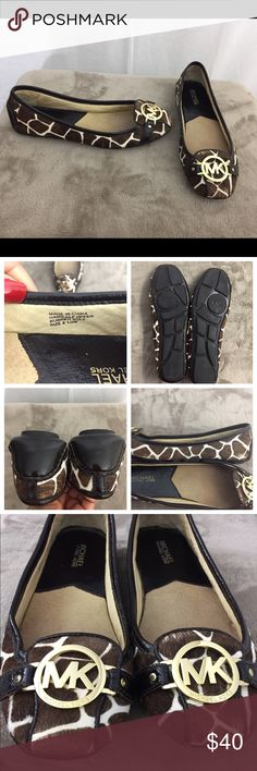 Michael Kors haircalf flats 😍 Gently used authentic MK flats. In good condition. Minor thinning of the hair in the front of the shoes, and on two small spots on one shoe( see pics for details) hardly noticeable once on. Can easily be touched up(YouTube). No scuffs on the back and heels are in GREAT condition. 👌🏽👌🏽😍 deeply discounted. Michael Kors Shoes Flats & Loafers