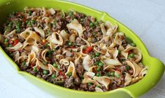 Yield: 6 servings Serving size: 1/6 of recipe   Ingredients  1 lb ground sirloin ½ cup onion, chopped ½ cup red bell pepper, chopped ½ cup green bell pepper, chopped 3 garlic cloves, minced 3 cups cooked whole wheat wide egg noodles 1½ cups frozen peas 15 oz can reduced-sugar tomato sauce 1 can cream-style corn ½ Tbsp chili powder ½ tsp crushed red pepper flakes (optional)  Instructions  Preheat oven to 350 degrees. Lightly coat a 3-3.5 quart baking dish with nonstick cooking spray and s...