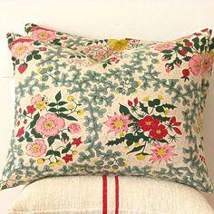 Vintage Floral Barkcloth Pillow | Jill Bent