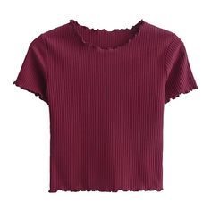 Cropped Frilled T-Shirt Wine Red ($20) ❤ liked on Polyvore featuring tops, t-shirts, ruffle crop top, flounce crop top, red tee, red crop tee and wine t shirts