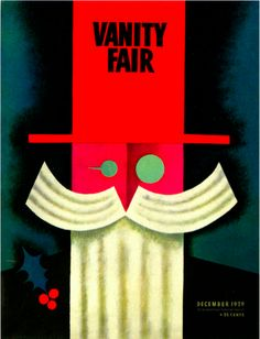 Illustration by Miguel Covarrubias December Vanity Fair Cover. Vanity Fair Magazine, Magazine Art, Magazine Covers, Herbert Bayer, Josef Albers, Frida And Diego, Polish Posters, Art Deco Vanity, Retro Design