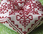 Cross Stitch Biscornu Pattern: Ruby Charm (PDF)
