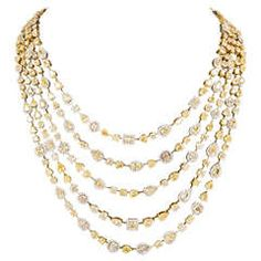 Incredible Multi Shape Yellow and White Diamond Gold Necklace