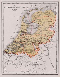 1798 - The Batavian Republic was the successor of the Republic of the Seven United Netherlands. It was proclaimed on 19 January and ended on 5 June with the accession of Louis I to the throne of Holland. Note that Limburg was not part of the Republic. European Map, European History, Early World Maps, Holland Map, Netherlands Map, Hellenistic Period, Country Maps, Old Maps, Historical Maps