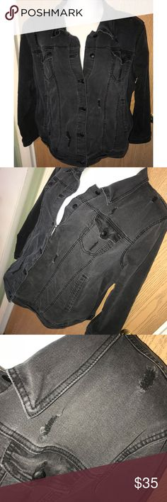 """Dark gray washed distressed denim jacket Super cute and edgy dark gray wash distressed denim jacket.  ❗️Please no low ball offers.❗️ ❗️Bundles always get a discount.❗️ Condition: Great, used  Measurements- Armpit to armpit: 30"""" Total length: 25"""" Stretch denim Smoke free home but I have a small dog.  Thanks for checking out my closet! ❤️ torrid Jackets & Coats Jean Jackets"""