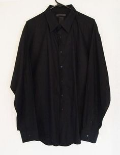 Men's DKNY Size XXL Button Front Long Sleeve Shirt Slim Fit Stretch Black 100% Cotton $19.99 with Free Shipping