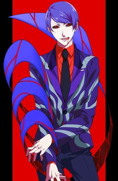 """Shuu from """"Tokyo Ghoul.""""  I haven't seen such a vibrant red and blue contrast since """"Tetris"""" for the NES!"""
