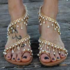 Women's Pearl Rhinestone Strappy Comfortable Shoes Summer Sandals for Party, Dancing club, School, Date, Anniversary, Going out, Hanging out | FSJ