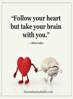 Quotes follow your heart but take your brain with you.