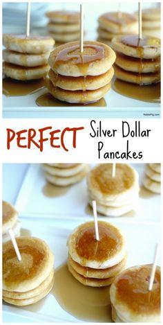Mini Pancakes On A Stick Brunch Party ` Mini Pancakes Pancake Bites, Breakfast Bites, Breakfast Pancakes, Sweet Breakfast, Breakfast For Dinner, Pancake Shop, Pancake Pan, Breakfast Meals, Pancakes On A Stick