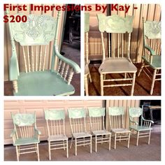 Chairs painted with VM&D Furniture Paint. Mint, Antique and White Silk Wax.