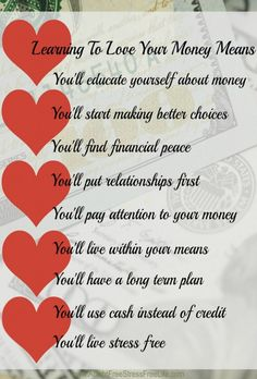 When you learn to love your money, you learn some new habits and strategies that move you towards debt free living.  That's something to love!