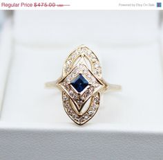 vintage 14k gold sapphire diamond engagement ring