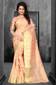 Peach Tussar Silk Saree With Blouse 67601
