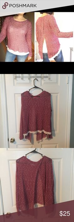 """Burgundy Split Back Top Reposh from @revivemethredz closet. (Pics courtesy of her). Beautiful split back, stretchy top with pretty lace detailing on edge of top. Pit to pit 25"""", front length 21"""", back length 31"""". Spoiled Tops"""