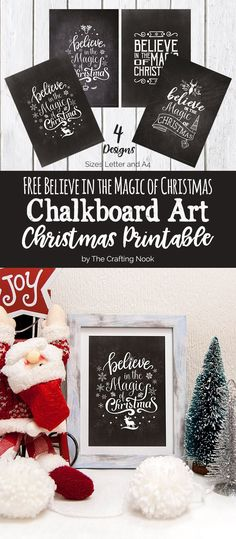Need a final touch for your Christmas Mantel or special place on your home??? These cute FREE Chalkboard Art Christmas Printables will Rock your frames! You have 4 designs to choose from and Believe in the Magic of Christmas this season!