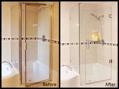 Before and After Image of a framed and frameless shower stall