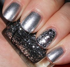Trixie - a great very full of bling silver foil. Accent nail is Color Club Orna-Mint from CC holiday 2011 but still kicking around there on some e-tailers and secondary market.