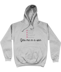 PPPD unisex hoodie, as a member of the PPPD club, I totally understand how hard this diagnosis can be to live with on a daily basis. My range of clothing and accessories are designed to bring a smile to the faces of people with this condition. Gymnastics Gifts, Gymnastics Outfits, Female Gymnast, Colorful Hoodies, White Hoodie, White Women, Life Is Good, Good Things, Unisex