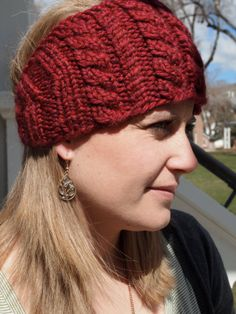 Deep Cardinal Red Knitted Ear Warmer Headband by KnittingWriter, $25.00