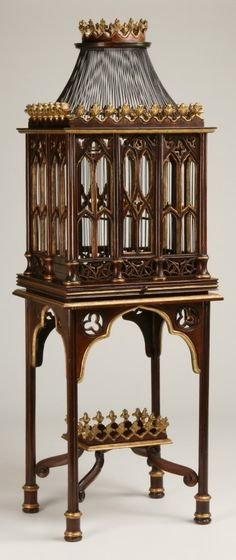 Gothic Revival inspired decorative birdcage.