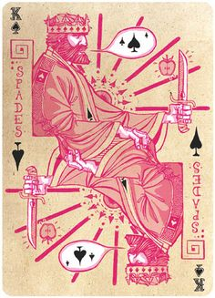 King of Spades by Michael Myers - Love the expression on his face. Cool Playing Cards, Custom Playing Cards, Vintage Playing Cards, Tarot, King Of Spades, Cartomancy, Korean Art, Deck Of Cards, Art Lessons