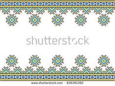 Folk art knitted embroidery pattern.