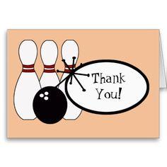 KRW Peach Bowling Thank You Card