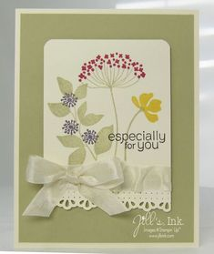 handmade card ... Summer Silhouettes ...  luv the soft green card base and the perfectly tied bow .. good base to show off pretty colors of the flowers ... Stampin' Up!