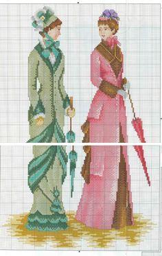 0 point de croix vintage ladies - cross stitch
