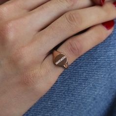 14kt gold diamond bar signet ring – Luna Skye by Samantha Conn