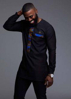 9c8bfd29d Men's African Print Navy Blue Dashiki T-Shirt Modern African Clothing,  African Clothing For