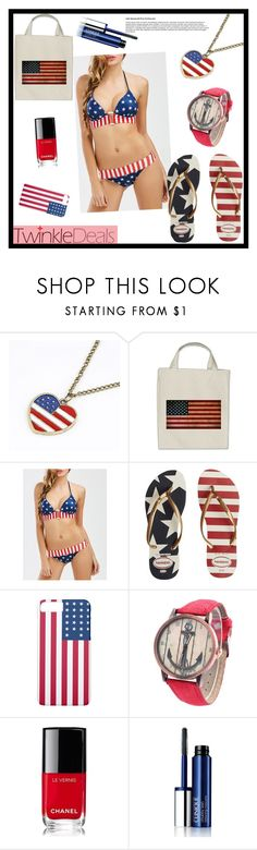"""""""Twinkledeals 40"""" by tlb0318 ❤ liked on Polyvore featuring Havaianas, Chanel and Clinique"""