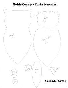 Artes de Amanda: Molde Coruja Porta tesouras