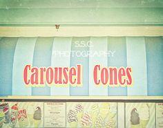 Vintage Carnival photo. Ice Cream. snack stand. awning. santa cruz beach boardwalk. blue. red. cute. retro. 8.5x11 inch photo. art. fun.